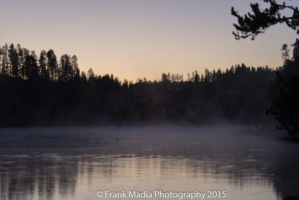 Early morning along the Yellowstone River just upstream of the Upper Falls. The fog was cold and fairly dense. The temperature was around 17