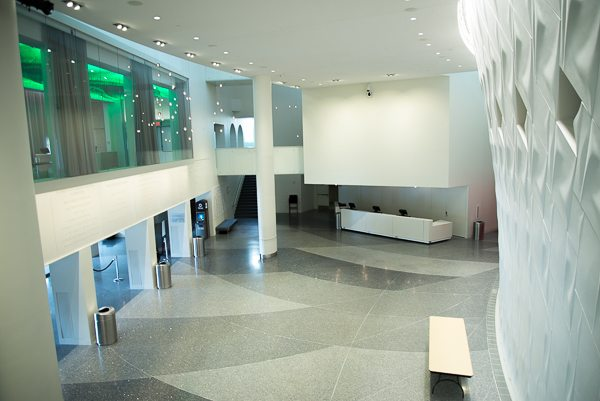 This is the lobby from the second floor. It is quite grand. The windows on the second level to the left of this image front the Founders Lounge where those people, companies and foundations who have contributed to the center can enjoy one another's company over a cocktail and snacks prior to performances.