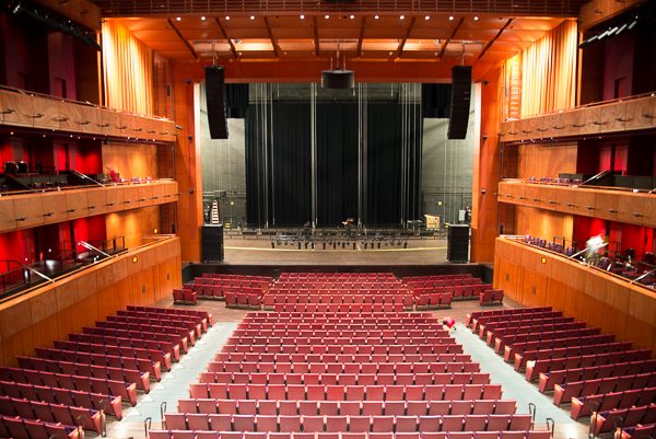 This is the main auditorium. I forget how many it seats, but it is a bunch. Along the sides are the boxes for the founders. The seating area is designed to allow for conversion from a sloped auditorium to a flat surface for different sorts of events.