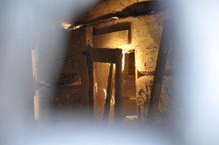 Inside an old barn