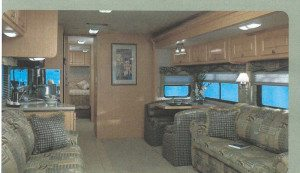 This image was scanned from a sales brochure of our motorhome model. The apolstry is not identical to what we had, but the layout is exactly as our was before we remodeled.